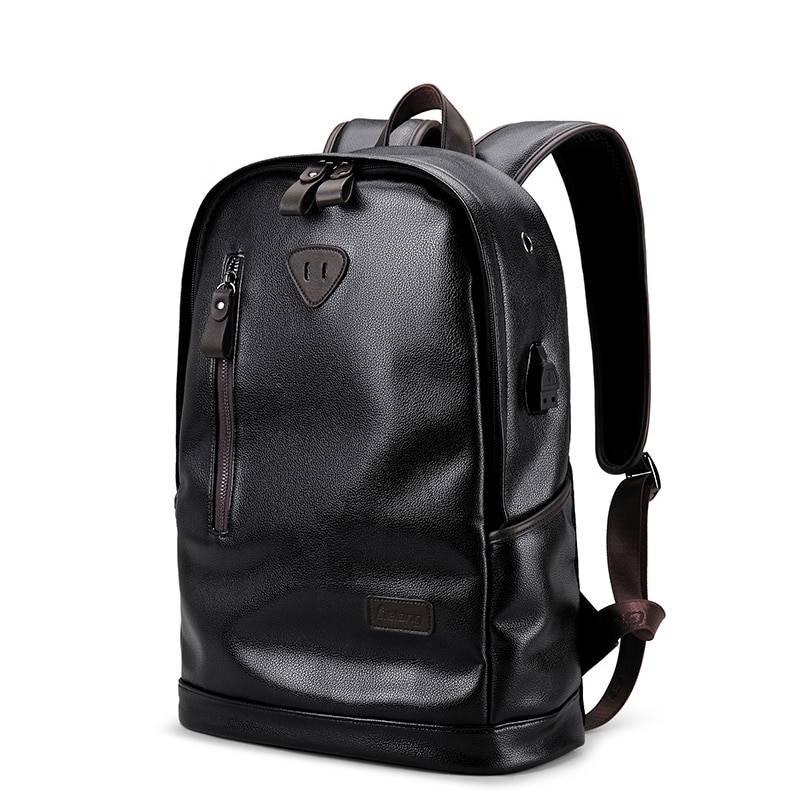 Men's Waterproof Big Capacity Black Leather Backpack Backpacks Men Bags & Wallets