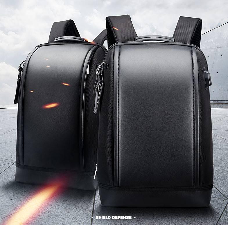 Men's Shield Leather Backpack Backpacks Men Bags & Wallets