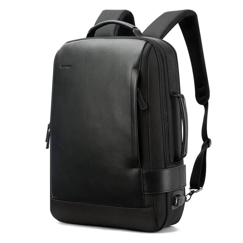 Minimalistic Black Leather Backpack Backpacks Men Bags & Wallets