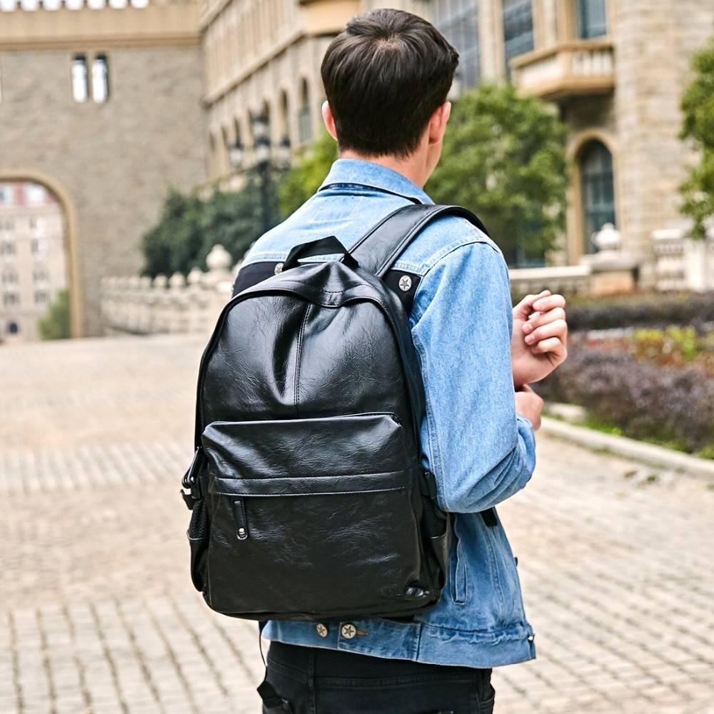 Men's Sport Leather Backpack Backpacks Men Bags & Wallets