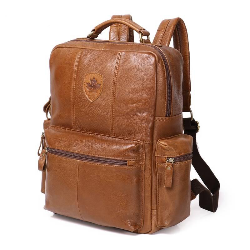 Fashion Men's Genuine Leather Backpack Backpacks Men Bags & Wallets