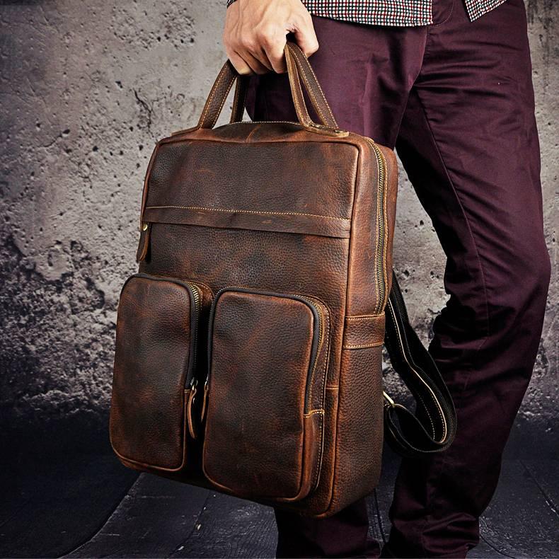 Men's Leather Backpack Backpacks Men Bags & Wallets