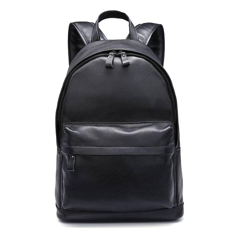 Trendy Solid Men's Genuine Leather Backpack Backpacks Men Bags & Wallets