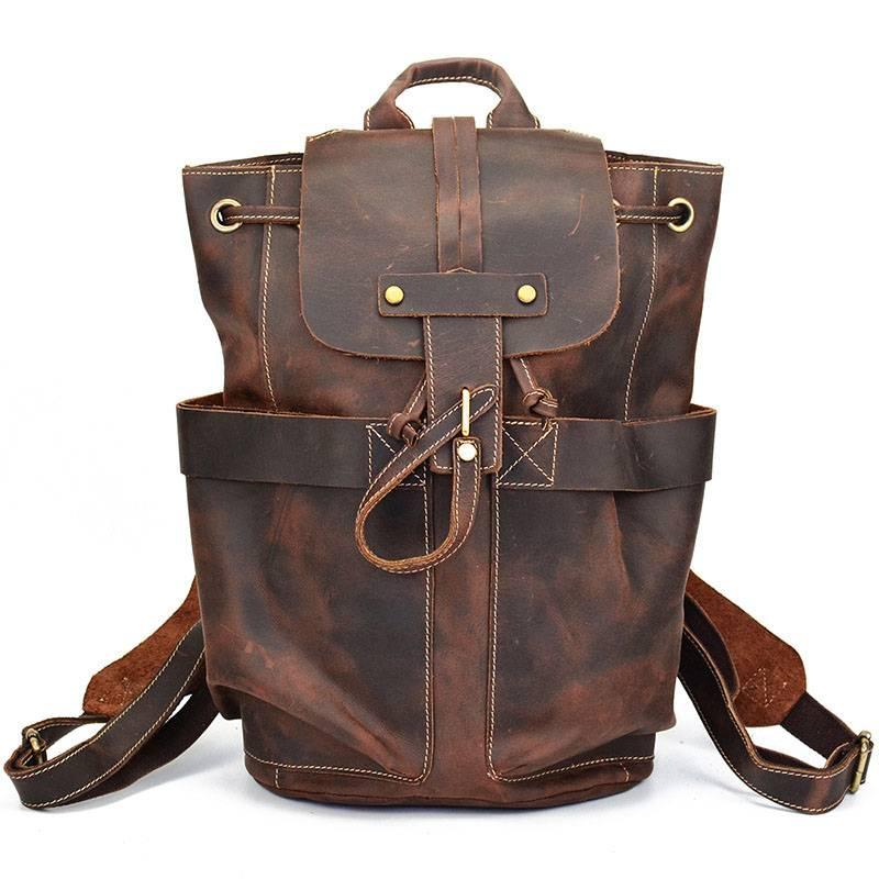Vintage Men's Genuine Leather Backpack Backpacks Men Bags & Wallets