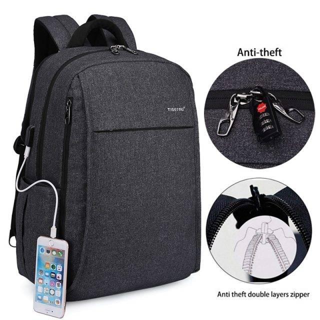 Multifunctional Backpack with USB Charging Port Backpacks Men Bags & Wallets Color : Black