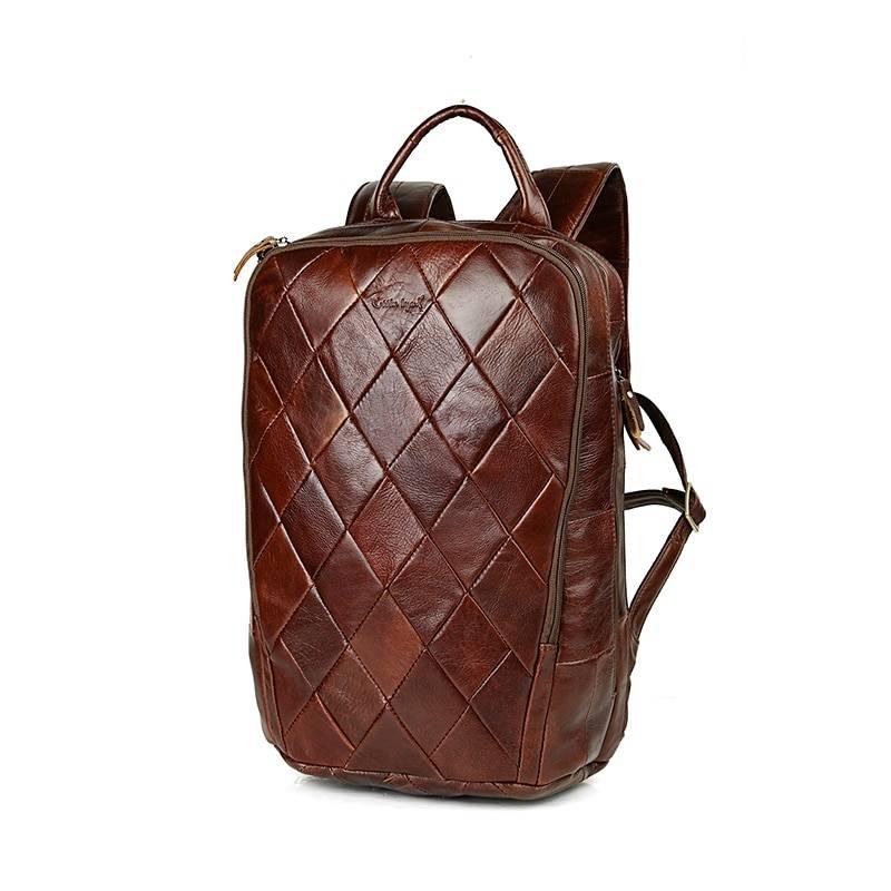 Men's Vintage Quilted Leather Backpack Backpacks Men Bags & Wallets