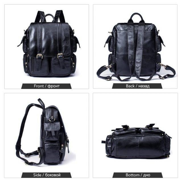 Casual Large Capacity Men's Genuine Leather Backpack Backpacks Men Bags & Wallets Color : Brown|Black