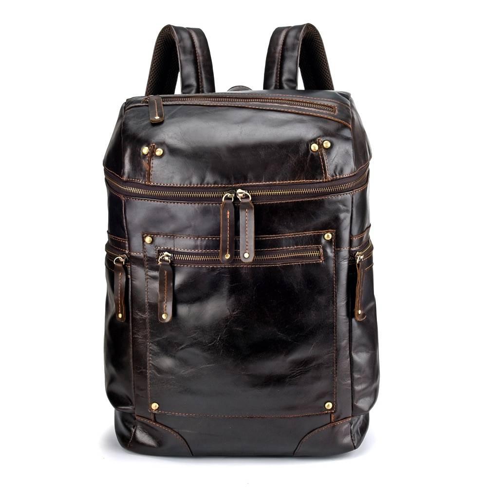 Vintage Large Capacity Men's Genuine Leather Backpack Backpacks Men Bags & Wallets