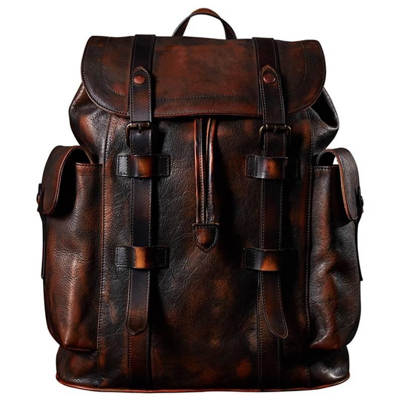 Vintage Style Men's Leather Backpack Backpacks Men Bags & Wallets