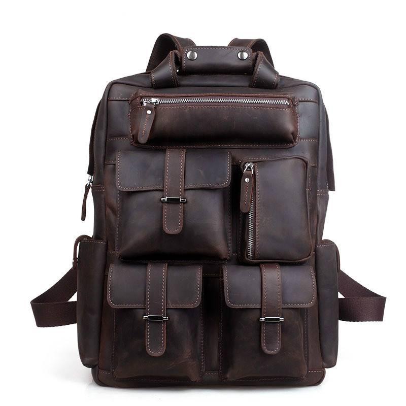 Men's Genuine Leather Travel Backpack Backpacks Men Bags & Wallets