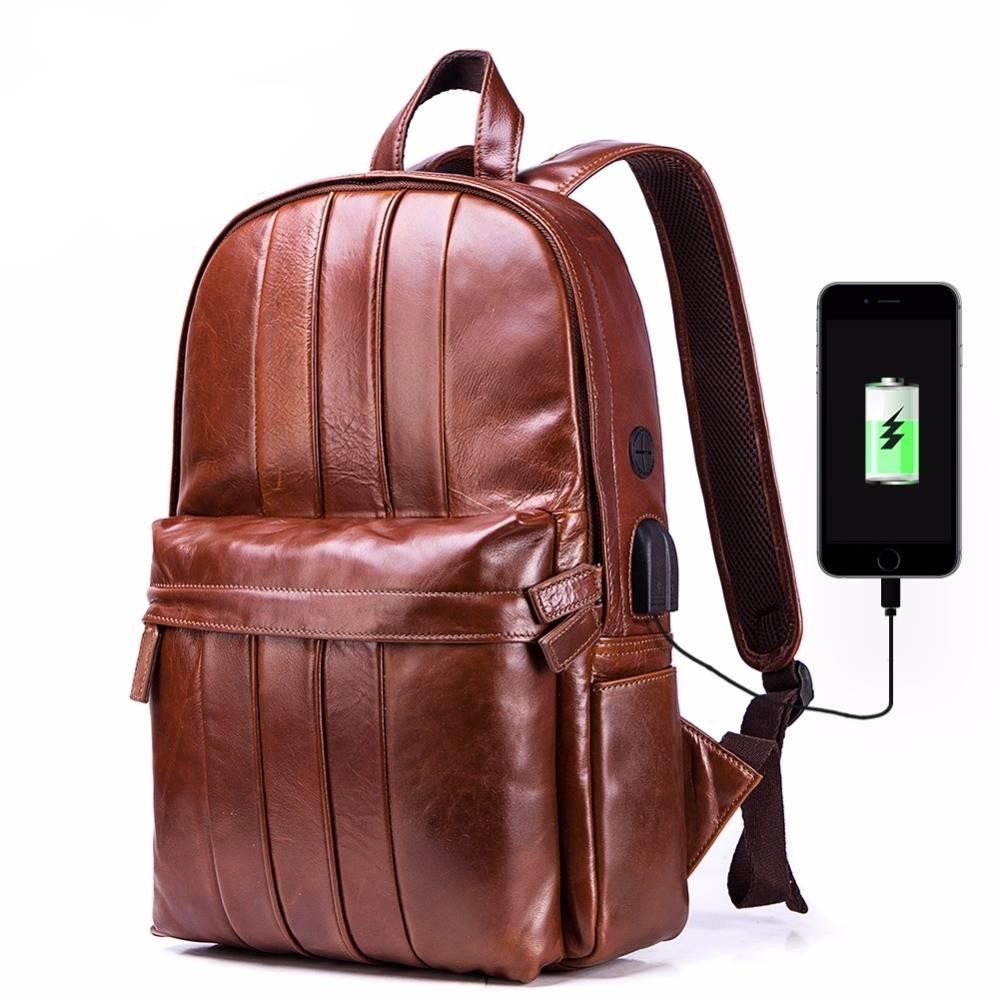 Men's Genuine Leather Laptop Backpack with USB Charging Port Backpacks Men Bags & Wallets