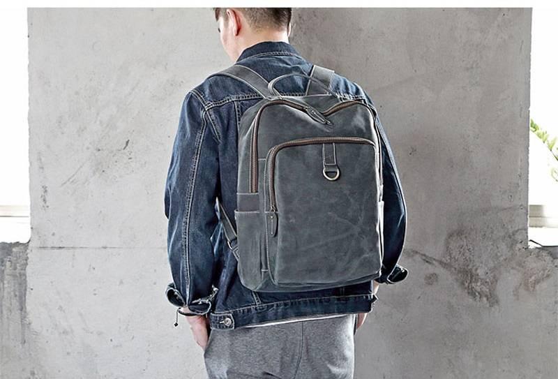 Vintage Ruched Men's Genuine Leather Backpack Backpacks Men Bags & Wallets