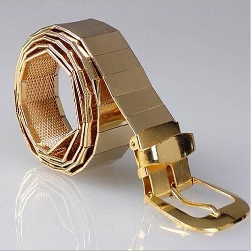 Men's Stylish Gold Metal Elastic Belt Accessories Belts Men's Clothing & Accessories