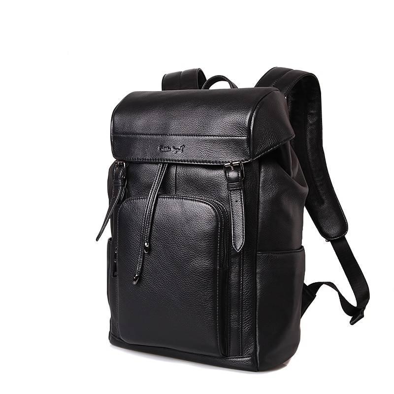 Casual Solid Black Men's Genuine Leather Backpack Backpacks Men Bags & Wallets