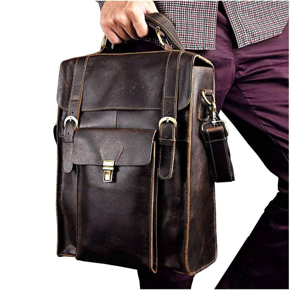 Casual Solid Men's Genuine Leather Laptop Backpack Backpacks Men Bags & Wallets