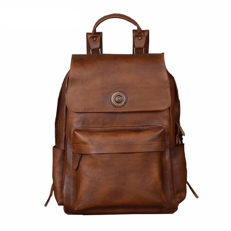 Fashion Waterproof Men's Genuine Leather Laptop Backpack Backpacks Men Bags & Wallets
