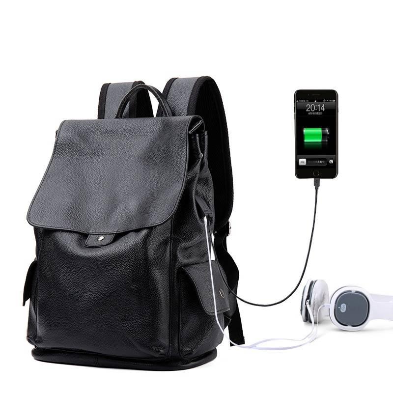 Preppy Style Men's Laptop Backpack with USB Charging Port Backpacks Men Bags & Wallets