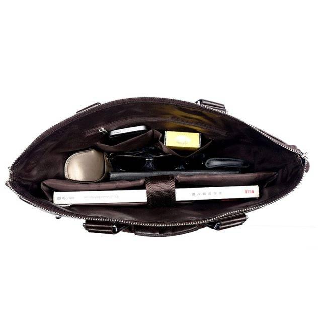 Men's Casual Leather Portfolio Bag Briefcases Men Bags & Wallets Color : Black Brown