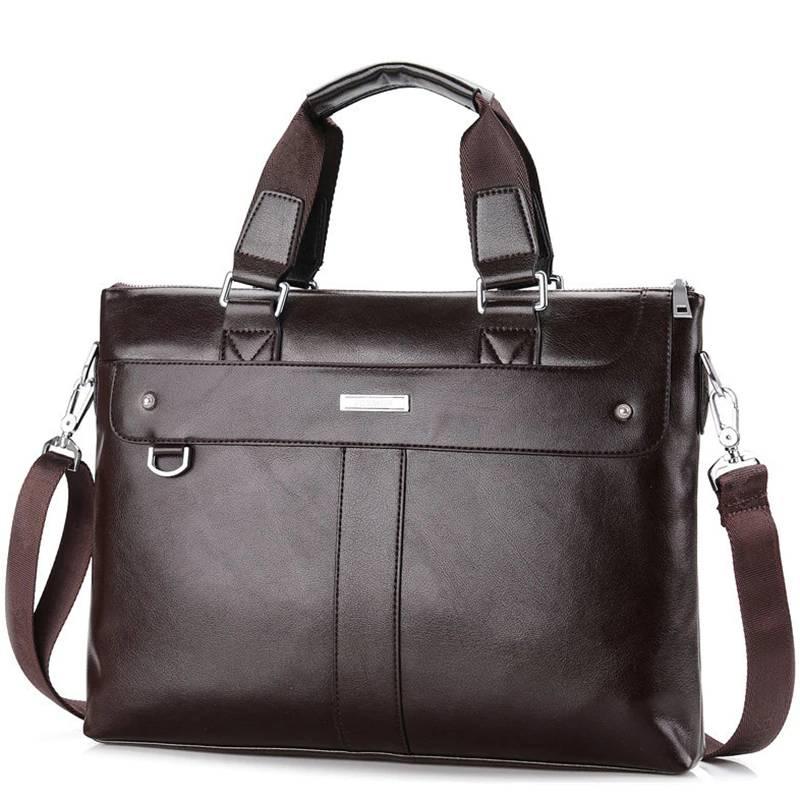 Men's Casual Leather Portfolio Bag Briefcases Men Bags & Wallets