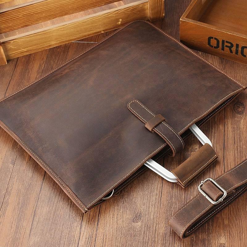 Slick Genuine Leather Handbag for Men Briefcases Men Bags & Wallets