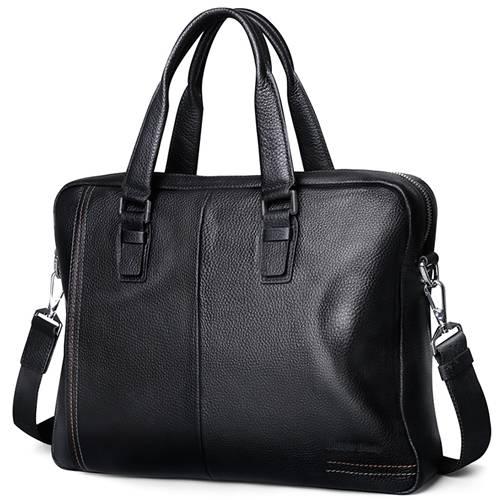 Men's Luxury Leather Briefcase Briefcases Men Bags & Wallets Color : Black