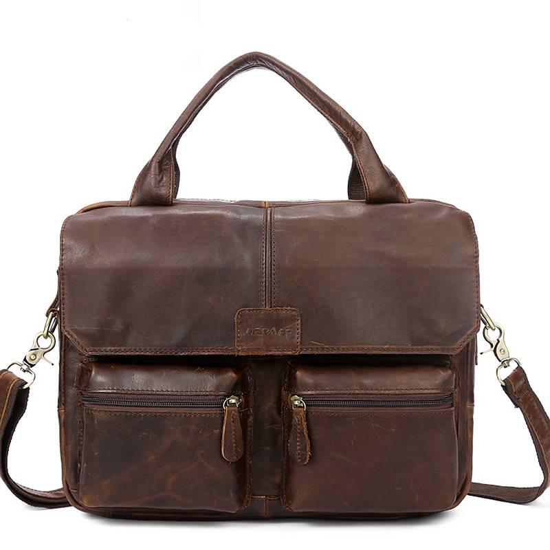 Genuine Leather Men's Briefcase Briefcases Men Bags & Wallets