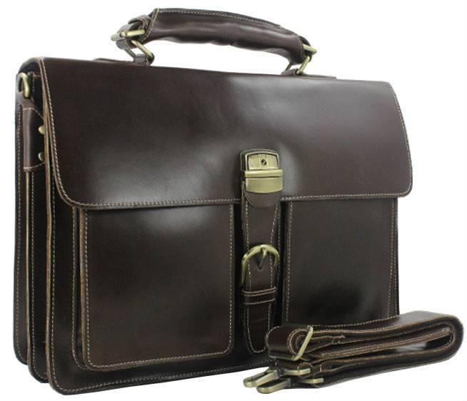 Luxury Genuine Leather Men's Briefcase Briefcases Men Bags & Wallets