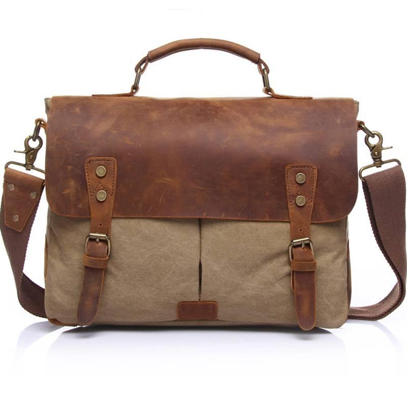 Men's Vintage Canvas Briefcase Briefcases Men Bags & Wallets