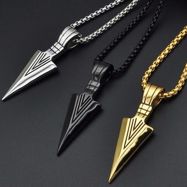 Men's Long Arrow Shaped Pendant Necklaces Men Jewelry Necklaces