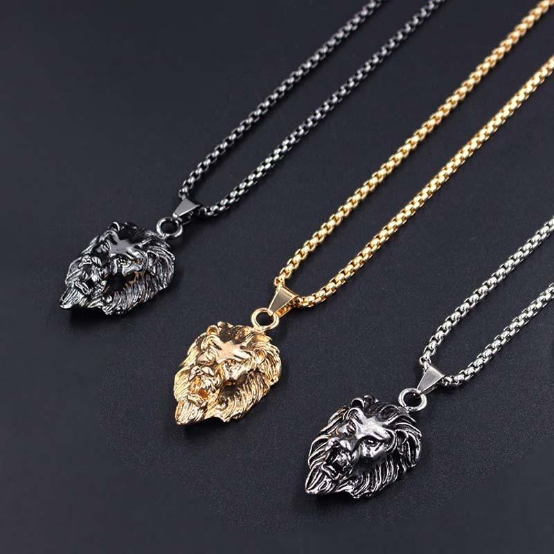 Men's Lion Head Shaped Chain Necklaces Men Jewelry Necklaces