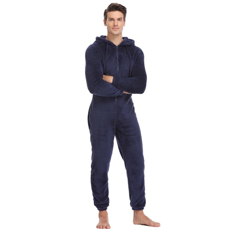 Men Plush Hooded Kigurumi Pajama Men's Clothing & Accessories Pajama Sets Sleep & Lounge