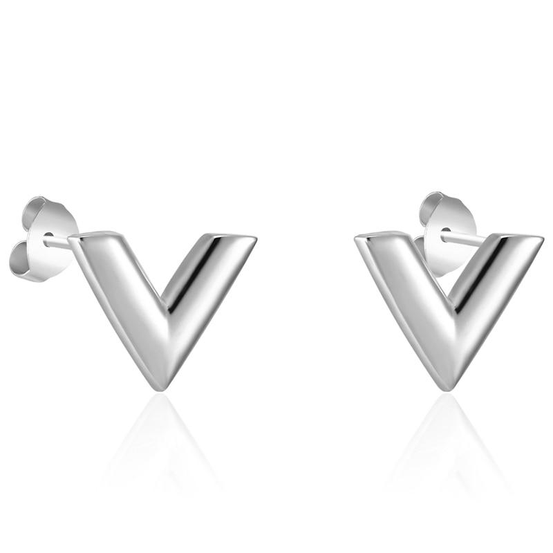 Men's Titanium Steel V Shaped Stud Earrings Earrings Men Jewelry