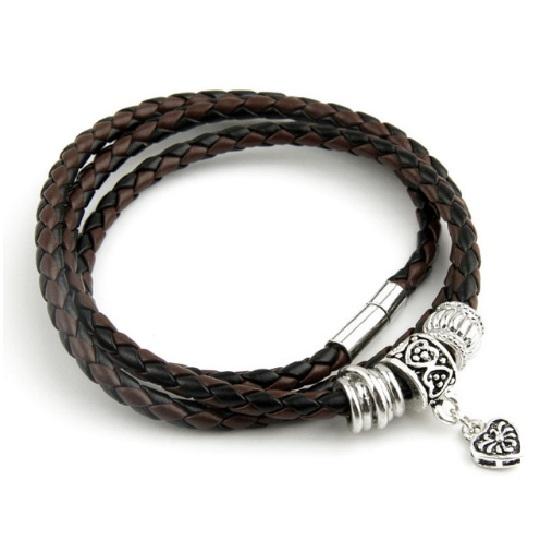 Men's Leather Bracelet with Charm Bracelets Men Jewelry Color: Brown Black