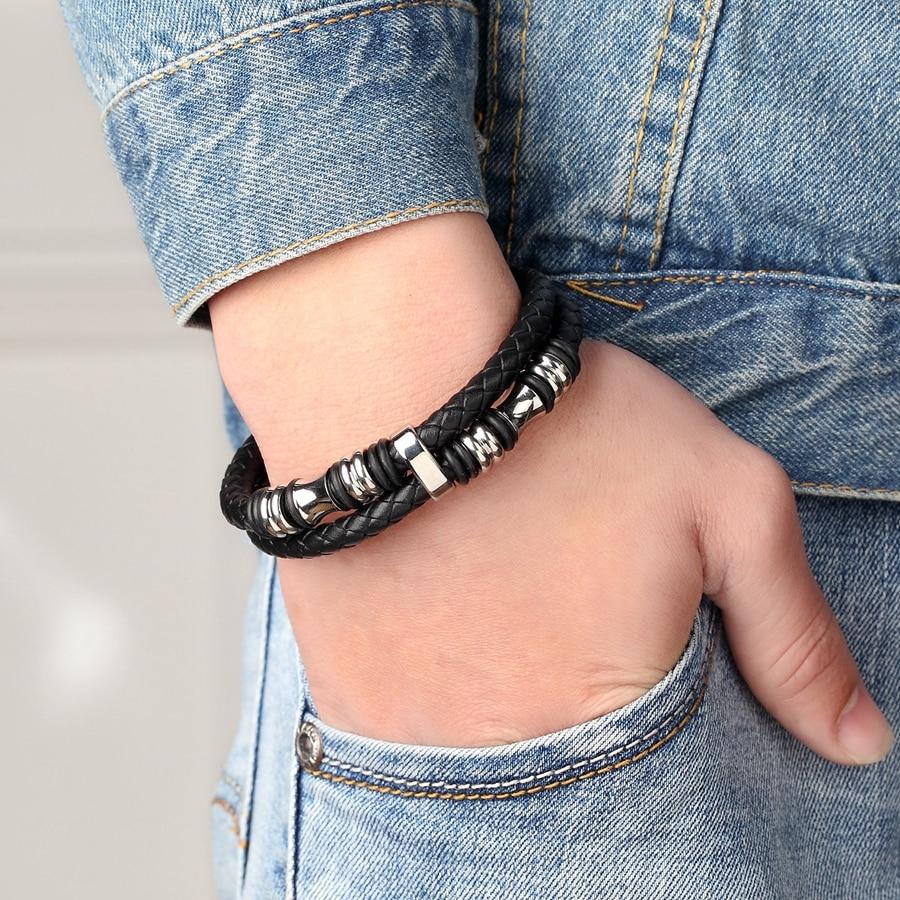 Genuine Leather Bracelet for Men with Steel Decor Bracelets Men Jewelry