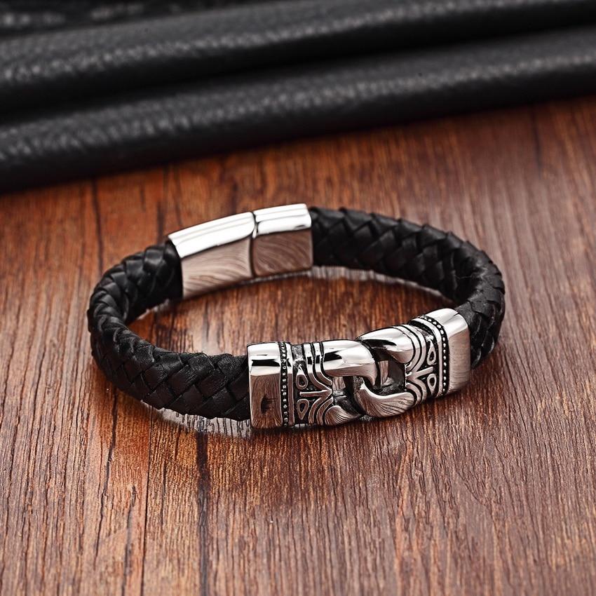 Leather Bracelets for Men with Nordic Decor Bracelets Men Jewelry