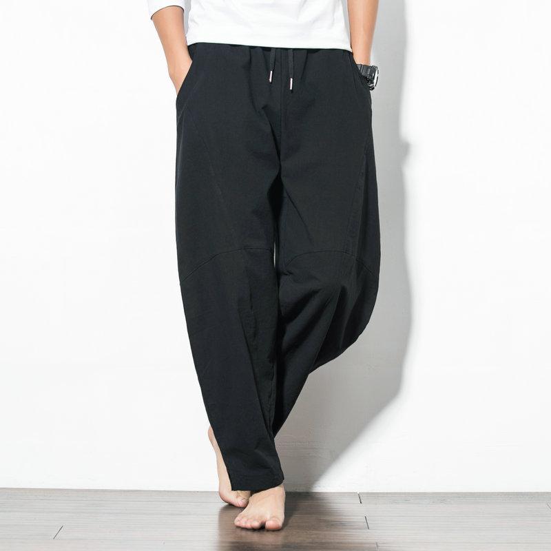 Men's Loose Linen Harem Pants BOTTOMS Men's Clothing & Accessories Pants Color: Black Size: M|L|XL|XXL|XXXL|4XL|5XL