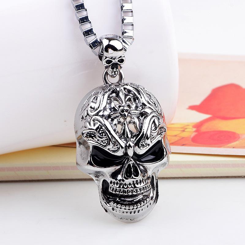 Long Hip-Hop Necklace with Pendant Skulls Men Jewelry Necklaces