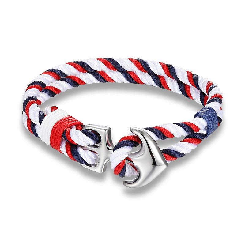Men's Anchor Design Rope Bracelet Bracelets Men Jewelry