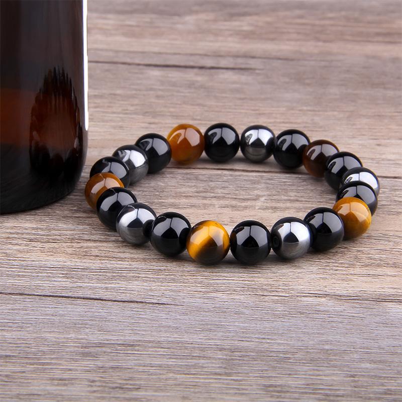 Men's Natural Black Obsidian Beads Bracelet Bracelets Men Jewelry