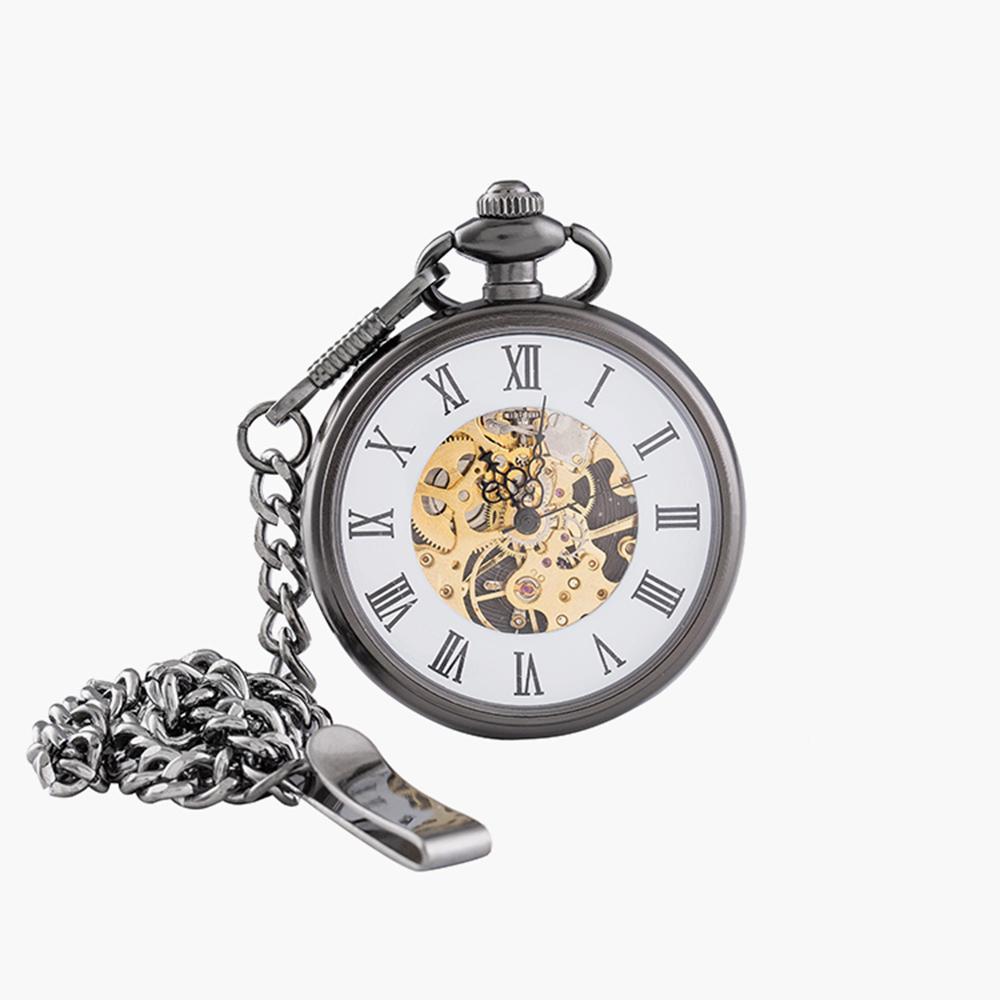 Vintage Charm Matte Black Unisex Retro Roman Number Mechanical Steampunk Pocket Watch Women Man Necklace Pendant with Chain Men Jewelry Men's Watches