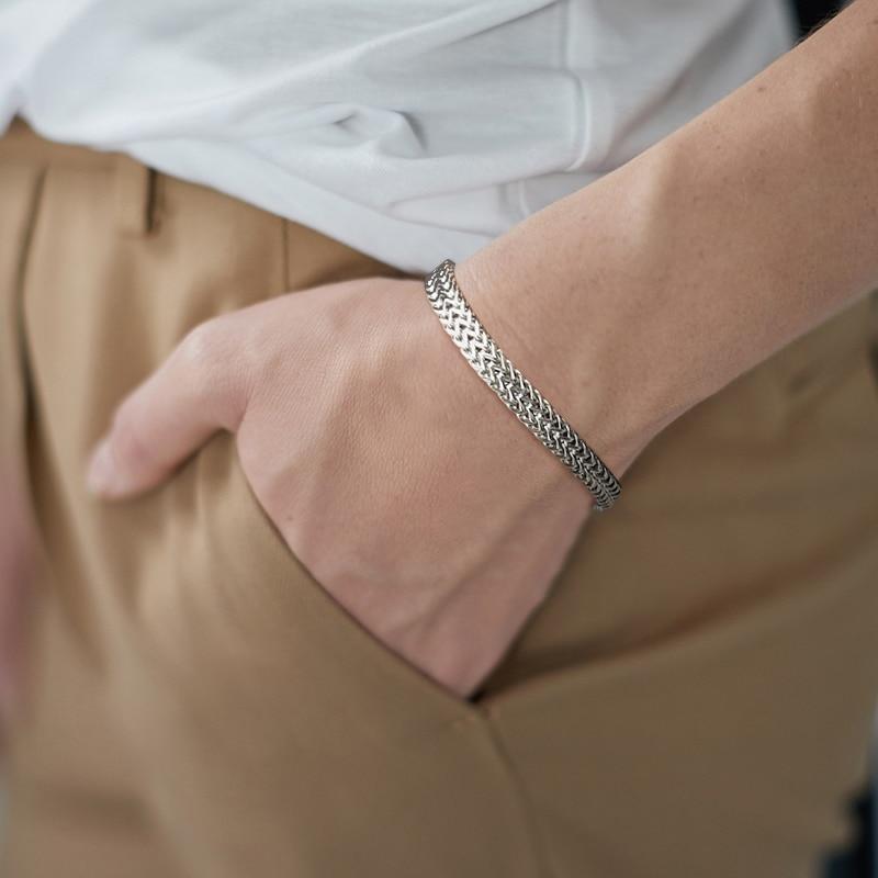 Men's Stainless Steel Foxtail Chain Bracelet Bracelets Men Jewelry