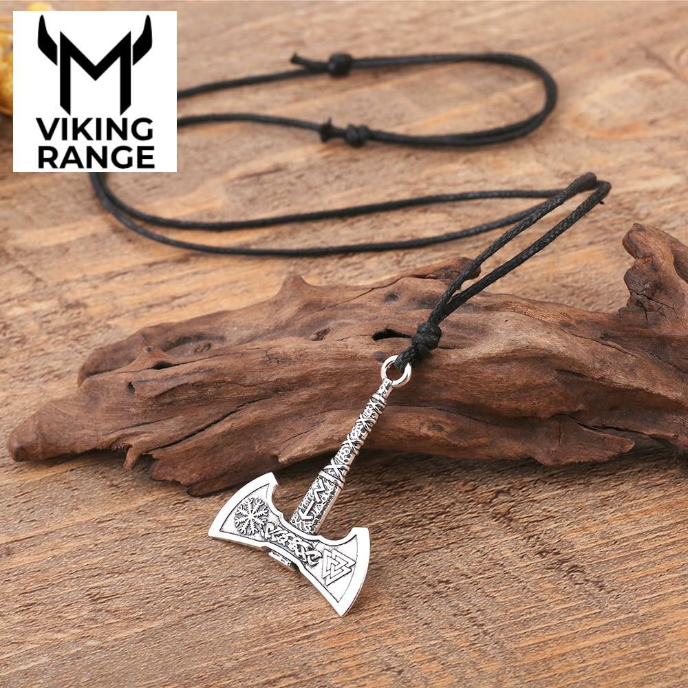 My shape Nordic Vikings Necklace The Fehu Feoh Fe Rune Axe Amulet compass viking runes pendant Scandinavian Necklace Men Jewelry Pendant