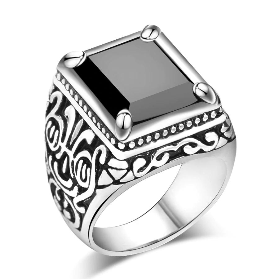 Men's Black Filled Silver Resin Ring Men Jewelry Rings