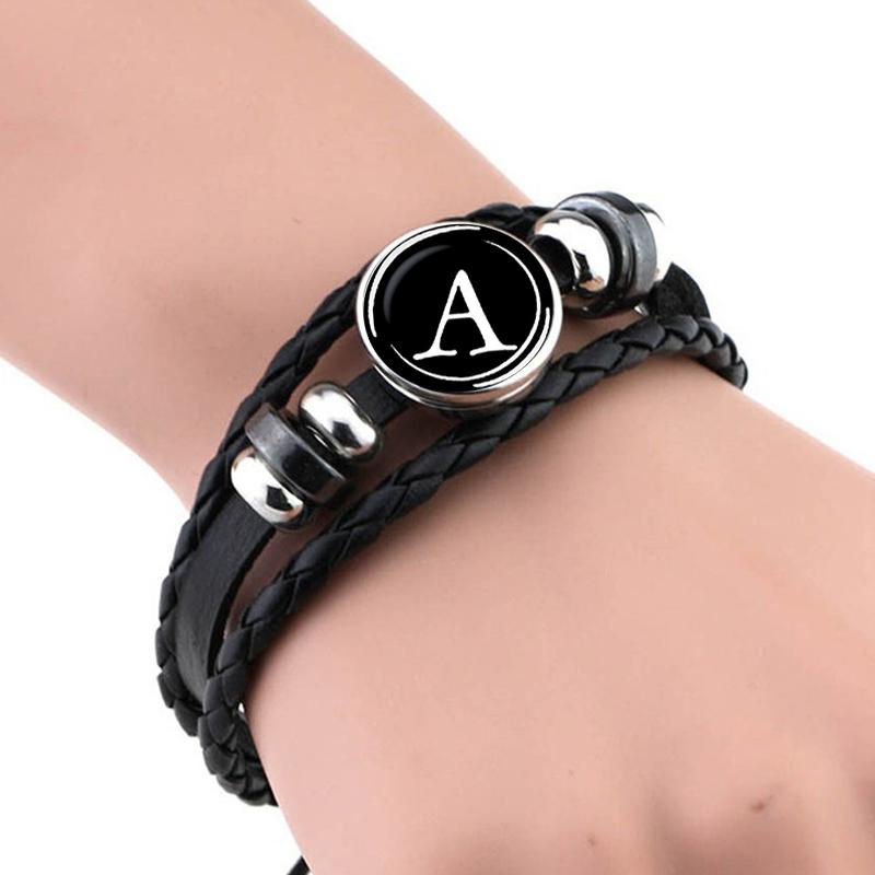Men's Leather Personalized Bracelet with Symbol Bracelets Men Jewelry