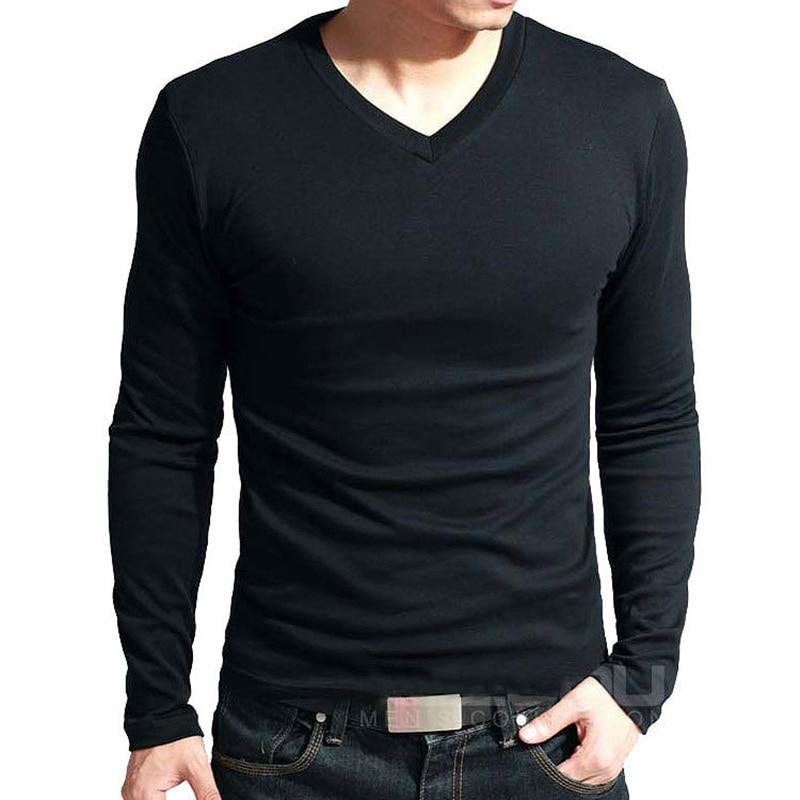 Men's Long Sleeve V-Neck T-Shirt Men's Clothing & Accessories Tops & Tees